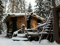 Off-grid log cabin in Tuulos, Finland handbuilt by Eetu Puurtinen in View more of his work here. Old Cabins, Log Cabin Homes, Cabins And Cottages, Cabins In The Woods, Small Cabins, Picture Places, Cabin Design, Cozy Cabin, Off The Grid