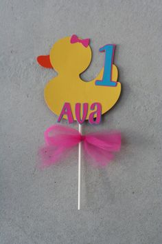 Girl Duck Smash Cake Topper, Rubber Duck,Duck Birthday, Ducky Baby Shower by AngiesDesignz on Etsy https://www.etsy.com/listing/171991619/girl-duck-smash-cake-topper-rubber
