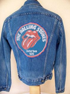 "BAREFOOT VINTAGE ORIGINAL ROLLING STONES 1976 WORLD TOUR LEVI'S JEAN JACKET ""SOLD"""