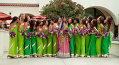 Bridesmaids in Green Sarees in Various Shades
