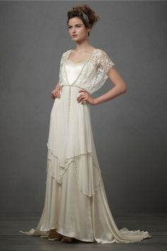 drop waist lace 1920's wedding gown