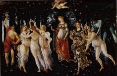 """La Primavera, Sandro Botticelli  1477-78; """"Allegory of Spring""""; 315 x 205 cm; painted for the villa of Lorenzo di Pierfrancesco de' Medici at Castello  now in the Galleria degli Uffizi in Florence"""