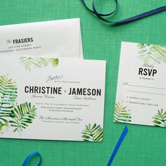 Green Nature-inspired Watercolor Wedding Invitations. The Forest Fern Suite from Fine Day Press. Available at Ceremony Boston // www.ceremony-boston.com