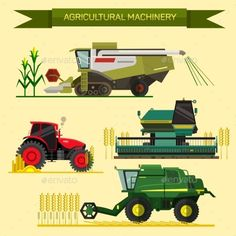 Buy Set of Agricultural Vehicles and Farm by skypicsstudio on GraphicRiver. Vector set of agricultural vehicles and farm machines. Illustration in flat design. Agriculture Business, Modern Agriculture, Farm Vector, Agriculture Machine, Farm Quilt, Harvester, Flat Design, 2d Design, Event Design