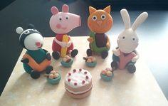 3 Fondant Edible Cake toppers - Pig