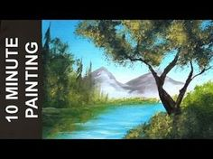 Painting Trees on the Lake and Distant Mountains with Acrylics in 10 Minutes! - YouTube