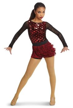 Sequin Plush Leotard with Fringe | Weissman® Cute Dance Costumes, Tap Costumes, Dark Fantasy Art, Royal Ballet, Baile Jazz, Dance Wear, Tap Dance, Body Painting, Figure Skating Dresses