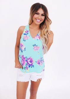 Mint Floral Chiffon Tank - Dottie Couture Boutique