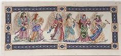 Angel Procession 10x22 Teresa Wentzler Completed Framed Cross Stitch Art Beaded