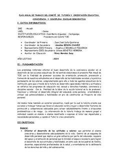 PLAN ANUAL DE TRABAJO DEL COMITÉ DE TUTORÍA Y ORIENTACIÓN EDUCATIVA,  CONVIVENCIA Y DISCIPLINA ESCOLAR DEMOCRÀTICA  I.-DATOS...