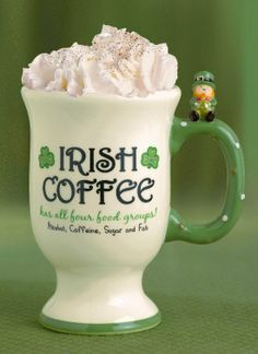 Great St Patrick's Day Gift Irish Coffee Mug Complete with Recipe On the Back