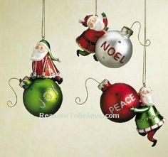 3 fun and festive 'messenger' Santa ornaments. Joy Santa, Noel Santa, and Peace Santa. Very colorful, bright and bold - certain to draw attention to any Christmas tree. Christmas Holidays, Christmas Bulbs, Santa Ornaments, Card Crafts, Hand Carved, Festive, Carving, Peace, Bright