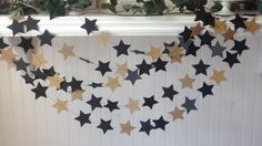 Black and Gold star Garland, Star Wars Garland, Party garland, Garlands, Stars garland, Graduation decoration. Ready to Ship Garlands. by HappyScrappy1 on Etsy https://www.etsy.com/listing/278751532/black-and-gold-star-garland-star-wars