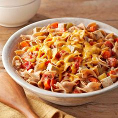 Tofu, slow-cooked veggies, and cheesy noodles meet in this fuss-free Cheesy Noodle Casserole. More slow cooker recipes: http://www.bhg.com/recipes/slow-cooker/soup-chili/winter-slow-cooker-recipes #myplate
