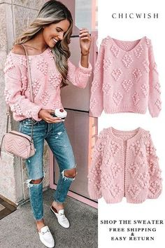 Knit Your Love Hand-Knitted collection featured by jenniferxlauren. Free Shippin… You are in the right place about Knitting stitches Here we offer you the most. Mode Crochet, Knit Crochet, Crochet Blouse, Crochet Jumper, Crochet Jacket, Mode Outfits, Fashion Outfits, Crochet Clothes, Unique Fashion