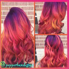 Pravana Vivids, Magenta Hair, Purple Hair, Orange Hair, Pink Hair, Neon Hair, Colorful Hair, Unicorn Hair, Mermaid Hair. Color done by Sara Reed for Pepperbox LLC. Follow me on IG @ pepperboxdesign