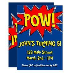 Superhero Comic Book Themed Invitation Template Superhero Birthday Invitations, Superhero Theme Party, Superhero Kids, Funeral Thank You Cards, Custom Thank You Cards, Comic Book Superheroes, Comic Books, Comic Book Style, Templates