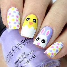 74 cute nail art designs for easter; cute easter nail art springnails cutenails easternails amazing designs of easter nails; Cute Nail Art Designs, Easter Nail Designs, Easter Nail Art, Baby Nail Art, Spring Nail Art, Spring Nails, Cute Nails For Spring, Summer Nails, Spring Art