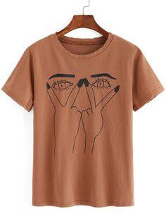 T-shirt imprimé yeux effet déchiré-French SheIn(Sheinside)