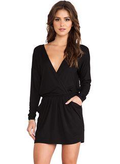 #SALE Black Long Sleeve V Neck Pockets Shift Dress $15 Shop the #SALE at #Sheinside