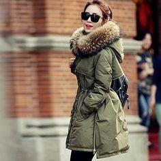 Warmer Daunenjacke Damen Mantel mit Pelz Kapuze Figurbetont Winter Parka Jacke
