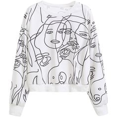 SheIn(sheinside) White Graphic Print Sweatshirt (1.115 RUB) ❤ liked on Polyvore featuring tops, hoodies, sweatshirts, graphic pullover sweatshirts, white tops, white long sleeve top, stretch top and white pullover sweatshirt
