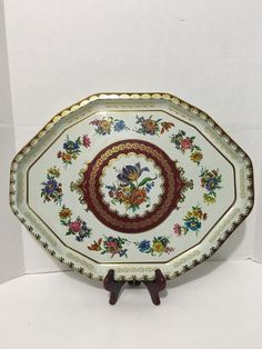 """Daher Decorated Ware Tray Made In England Vintage Large 16 14"""" Daher Decorated Ware Serving Tray Floral"""