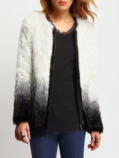 Giacca di eco-pelliccia bianca & nera