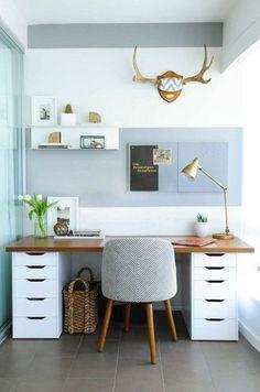the best ikea hacks. This desk made out of 2 drawer units with wood topper is amazing. ähnliche tolle Projekte und Ideen wie im Bild vorgestellt findest du auch in unserem Magazin . Wir freuen uns auf deinen Besuch. Liebe Grüß