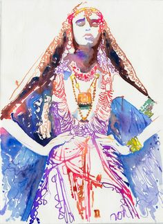 """""""Art Watercolour Fashion Illustration Cate by silverridgestudio""""    A really pretty work of art, just a bit rainbowy, and very water-colour, with an indian theme (I mean, come on it's a girl in a sari)     I really like this impressionistic print. :3"""