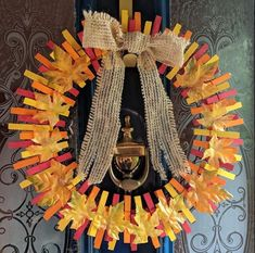 10 Beautiful Clothespin Wreaths For Fall - The Wonder Cottage Autumn Crafts, Thanksgiving Crafts, Thanksgiving Decorations, Holiday Decorations, Wreath Crafts, Diy Wreath, Clothespin Crafts, Tree Crafts, Wreath Ideas