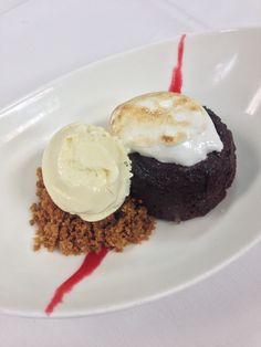 Flourless Chocolate Cake Graham Cracker Crumble, Toasted Marshmallow, Memories Vanilla Ice Cream