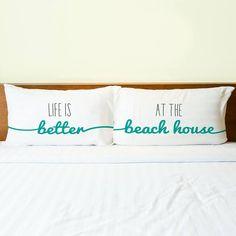 Set of 2 Pillow Cases with a Beach Quote. Featured on Florida Beach Dweller FB: https://www.facebook.com/floridabeachdweller/photos/a.531535356996874.1073741828.531330783683998/638646722952403/?type=3&theater