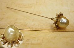 ANtique Pearl Hatpin huge baroque faux pearl by vintagesparkles