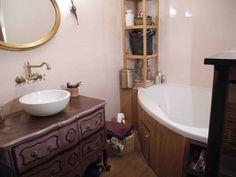 Bathroom with angle bath