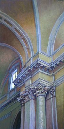 Pastel painting of a Italian cathedral arch by Jill Stefani Wagner