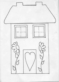 The use of a mild house - bumpers (templates, examples) Applique Templates, Applique Patterns, Applique Designs, Quilt Patterns, Embroidery Designs, Wool Applique, Applique Quilts, Embroidery Applique, Cross Stitch Embroidery