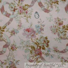 BonEful Fabric FQ Cotton Quilt Pink Brown Ribbon Rose Flower Cottage Shabby Chic
