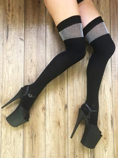 769f0a198cd77 Black Over the Knee Socks with Silver Lurex band-Rolling-Pole Junkie