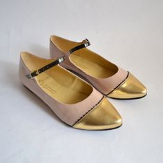 Beige patent tricolor mary jane flats.