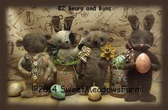 EZ Bears and Buns Primitive Rabbit and Bear Doll E-Pattern $8.50