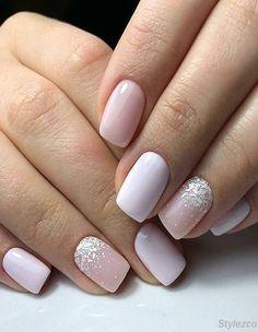 beautiful acrylic short square nails design for french manicure nails 53 Square Nail Designs, Short Nail Designs, Wedding Nail Polish, Wedding Nails, Solid Color Nails, Nail Colors, Pink Nails, My Nails, Gradient Nails