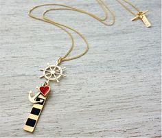 שלומית אופיר עיצוב תכשיטים - חנות - שרשרת נאוטיקה לב ארוכה