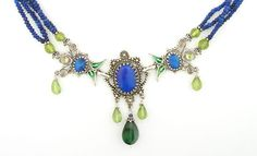 Vanessa Mellet necklace. Silver, enamel, lapis, blue opal, green tourmaline & peridot.