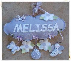 Enfeite de porta maternidade - Jardim  cores Lilás com branco... R$ 69,97