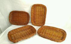 "Vintage set of 4 Wicker Rectangular Basket 7.5"" x 4.75"" #HandMade"