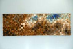 Mosaic Wood Art, wood wall art, geometric art, large art painting on wood…