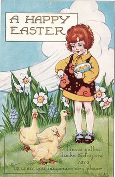 A Happy Easter vintage card.
