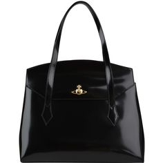 Vivienne Westwood Monaco Leather Tote ($300) ❤ liked on Polyvore featuring bags, handbags, tote bags, purses, bolsas, totes, black, black leather purse, black leather tote and handbags & purses