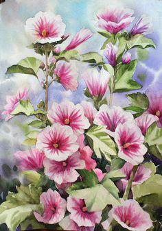 NAMIL ART: watercolor step by step Step By Step Watercolor, Step By Step Painting, Hollyhock